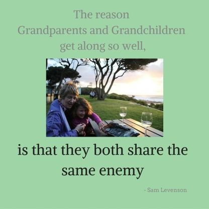 The reason Grandparents and Grandchildren get along so well, is that they both share the same enemy